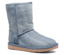 Classic Short Washed Denim Stiefel in blau