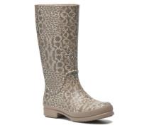Wellie Leopard Print Stiefel in beige
