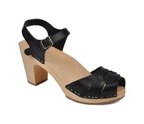 Peep toe super high Sandalen in schwarz