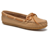 Smooth Leather Moc Slipper in beige