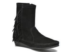 Side Fringe Suede Wedge Boot Stiefel in schwarz