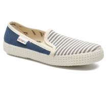 Slip On Rayas Lona Sneaker in blau