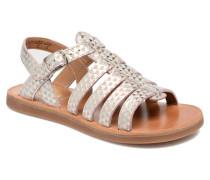Plagette Strap Sandalen in silber