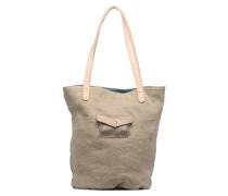 Cabas Petit Polochon Lin Reversible Handtasche in beige