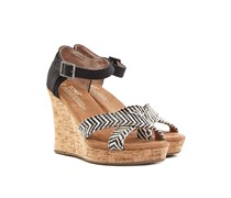 Wedge Strappy Damen Sandaletten Schwarz