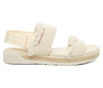 Muriel Fringe Canvas Damen Sandale Weiß