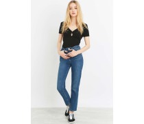 HighWaistGirlfriendJeans in Mittelblau