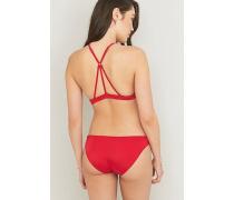 Hochgeschlossenes Bikinioberteil in Rot mit Riemchendesign