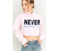 """Kurzer Hoodie """"Never Forever"""" in Rosa"""