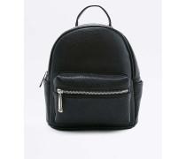 MiniRucksack aus Kunstleder in Schwarz