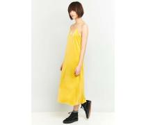 MidiTrägerkleid aus Samt in Gelb
