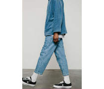 """Jeans """"Crispin"""" in verwaschenem Blau mit unverarbeitetem Saum"""