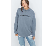 "Hoodie ""More Self Love"" in Blau"