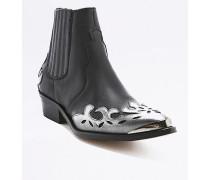 """Ankle Boots """"Tina"""" im Westernstyle in Schwarz und Silber"""