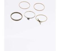 Verdrehte, antike Ringe mit Knotendetail im Set