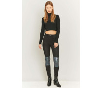"HighWaistSuperskinnyJeans ""Pine"" in Schwarz mit MetallicKnien"