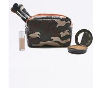 Kosmetiktasche aus Nylon in Khaki mit CamouflagePrint