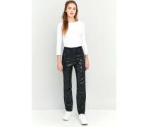 Mom Jeans in Schwarz mit Pailletten