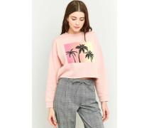 "Kurzes Sweatshirt ""Palm Tree"" in Rosa"
