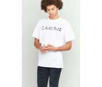 """TShirt """"Konichiwa"""" in Weiß mit japanischem Schriftzug"""