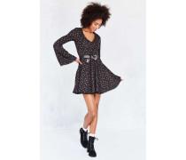 Kuscheliges Minikleid in Schwarz mit Glockenärmeln und Print
