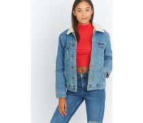 Jeansjacke im Westernstyle in Blau mit Pelzbesatz