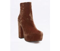 "Ankle Boots ""Karla"" aus Samt in Rostrot mit Plateausohle"