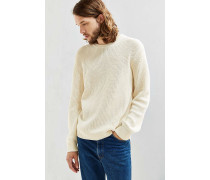 Klassischer Pullover in Elfenbein mit Rundhalsausschnitt
