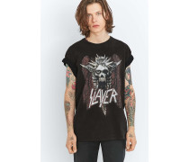 "TShirt ""Slayer"" in AcidWaschung in Schwarz"