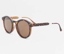 Runde Sonnenbrille in matter SchildpattOptik mit Metallelementen