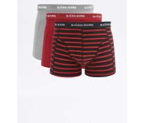 Gestreifte Boxershorts in Grau, Rot und Schwarz im Set