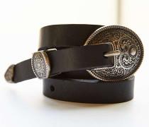 Extrem schmaler Westerngürtel aus Leder in Schwarz