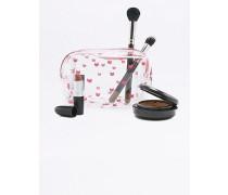Kleine, transparente Kosmetiktasche mit rosafarbenem Katzenprint