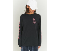"Longsleeve ""Praying Hands"" in Schwarz und Rosa"