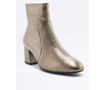 Ankle Boots aus Leder in MetallicOptik in Rauchgrau