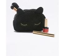 Kosmetiktasche aus Fleece in Katzenoptik in Schwarz