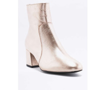 Ankle Boots aus Leder in MetallicOptik in Roségold