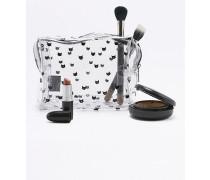 Große, transparente Kosmetiktasche mit schwarzem Katzenprint