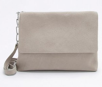Clutch aus Leder in Grau