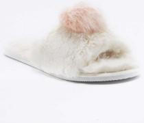 Hausschuhe in Elfenbein mit offener Zehenpartie und rosafarbener Bommel