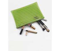 Große, gestreifte Kosmetiktasche in Grün