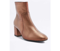 "Ankle Boots ""Poppy"" in MetallicOptik aus Leder in Orange"