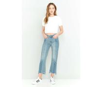 Ausgebleichte Jeans mit Stufensaum, Ziernähten und Schlag