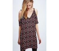 Schulterfreies Kleid mit Print in Burgunderrot