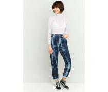 Mom Jeans im Batikstyle in Blau