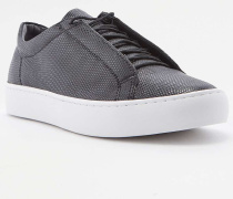 """Geschnürte Sneaker """"Zoe"""" aus schwarzem Leder mit Prägung"""