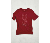 "TShirt ""Peace Paw"" in Merlot"
