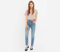 Ausgefranste HighWaistGirlfriendJeans in Blau