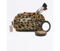 Kosmetiktasche aus Kunstpelz in Braun mit Leoprint