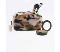Kosmetiktasche aus Kunstpelz in Rosa mit CamouflagePrint